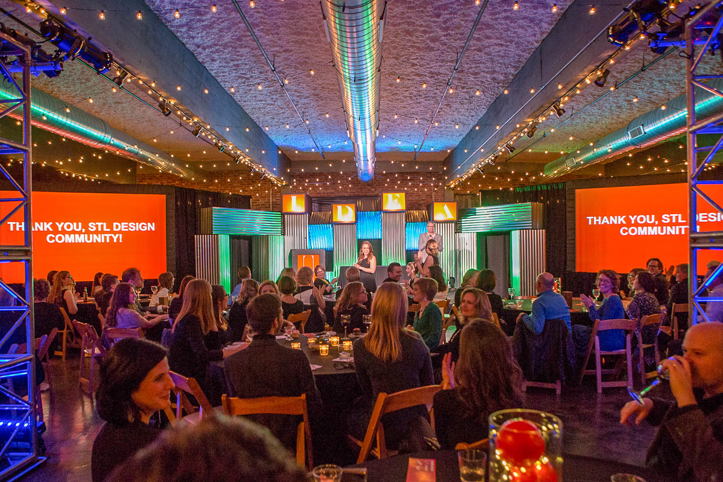 IDEA awards ceremony at NEO on Locust in St. Louis with staging and seated audience